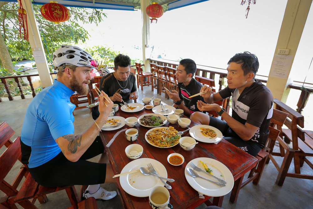 One of my favourite things about cycling in Asia is the food options. A little care is needed when chowing into some of the traditional dishes to ensure you don't bite into fresh chilli.  As demonstrated (badly) above!
