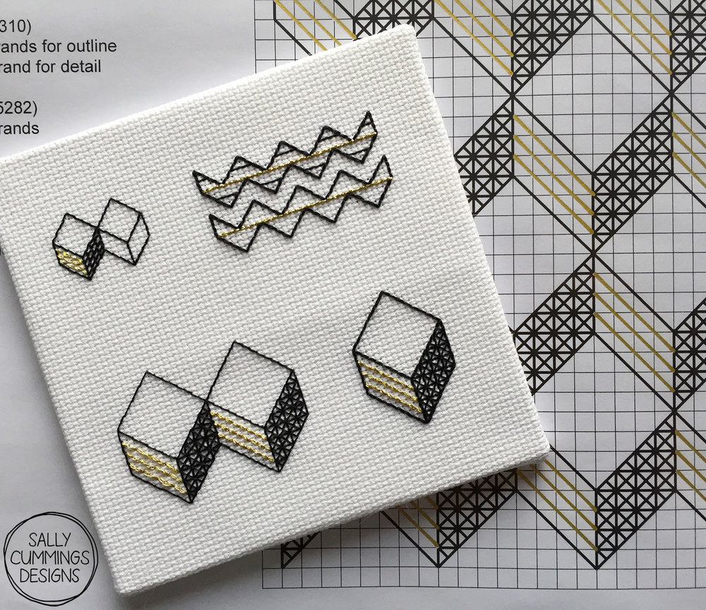 Gold and blackwork cubes embroidery and pattern