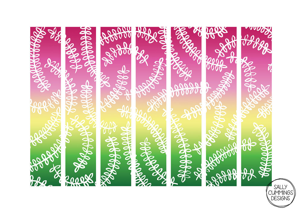 Leaves pencil wraps with gradient background