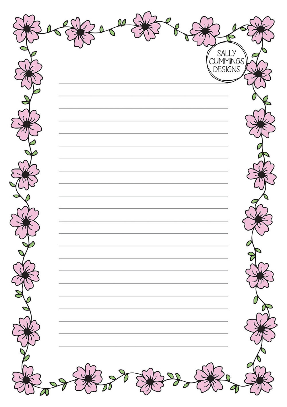 Cherry blossom writing paper - colour