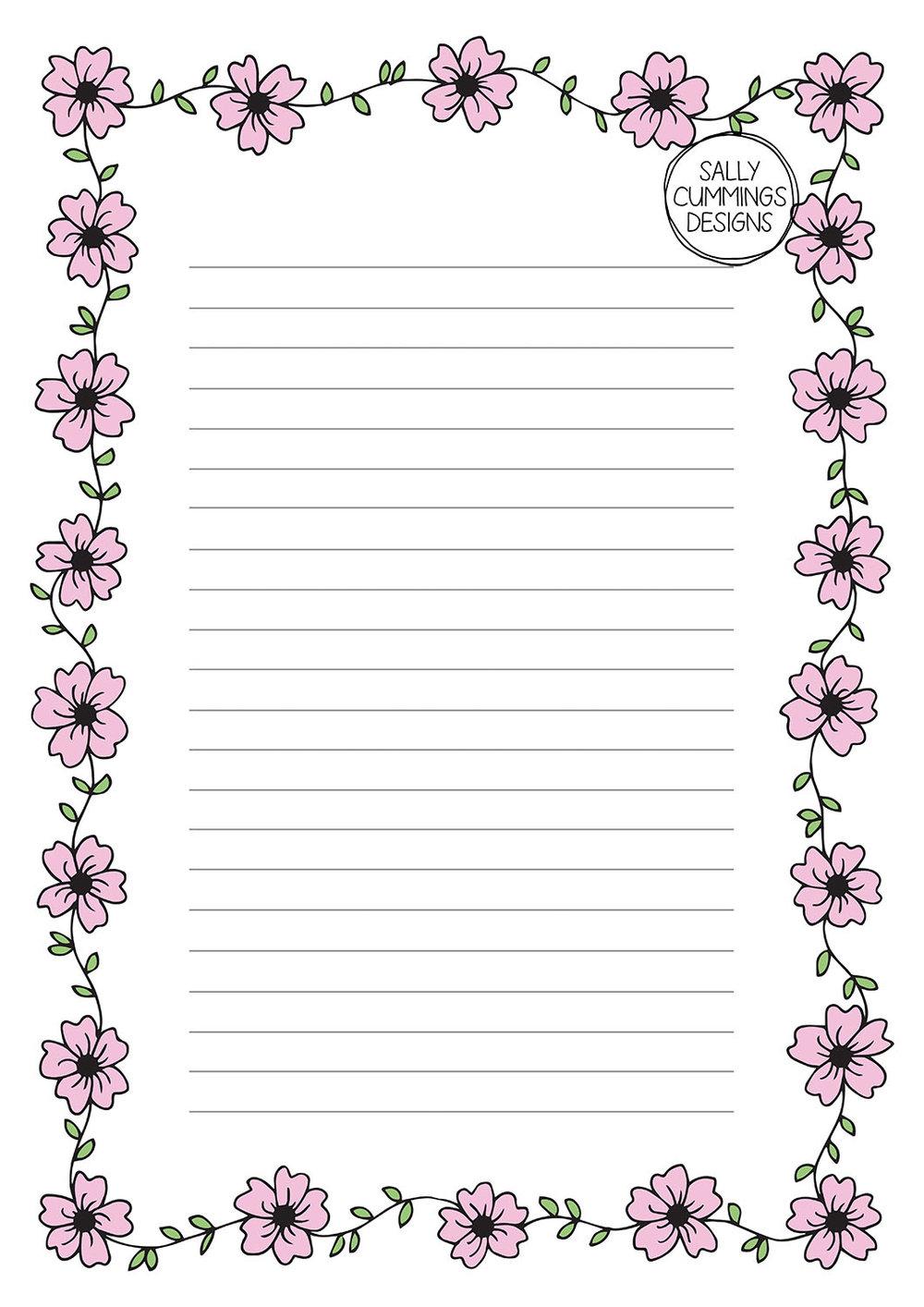 Cherry blossom writing paper - colour