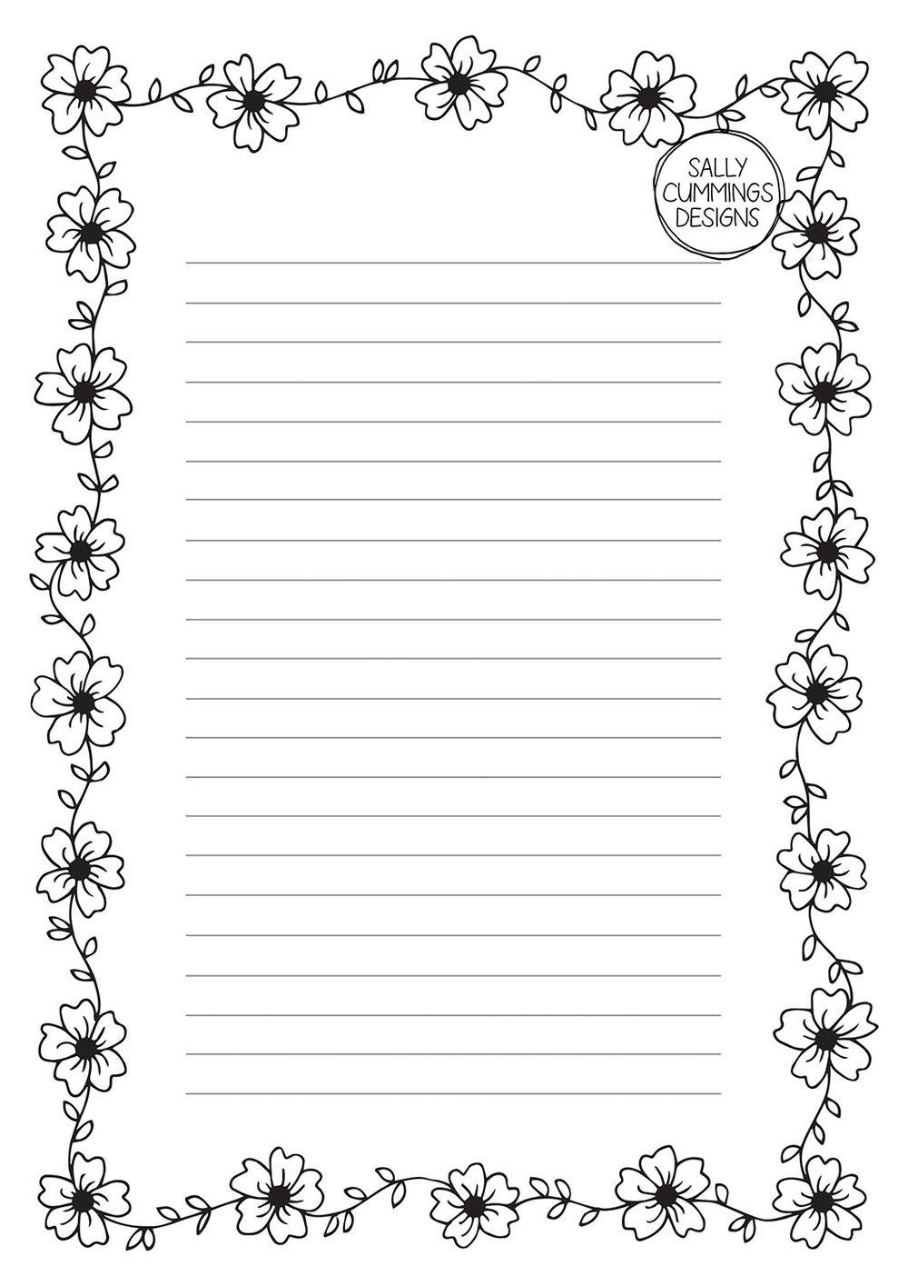 Cherry blossom writing paper - black and white