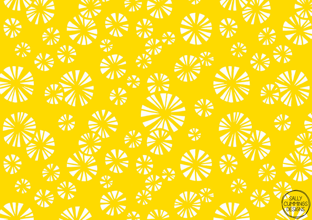 Sally Cummings Designs - Yellow starbursts pattern