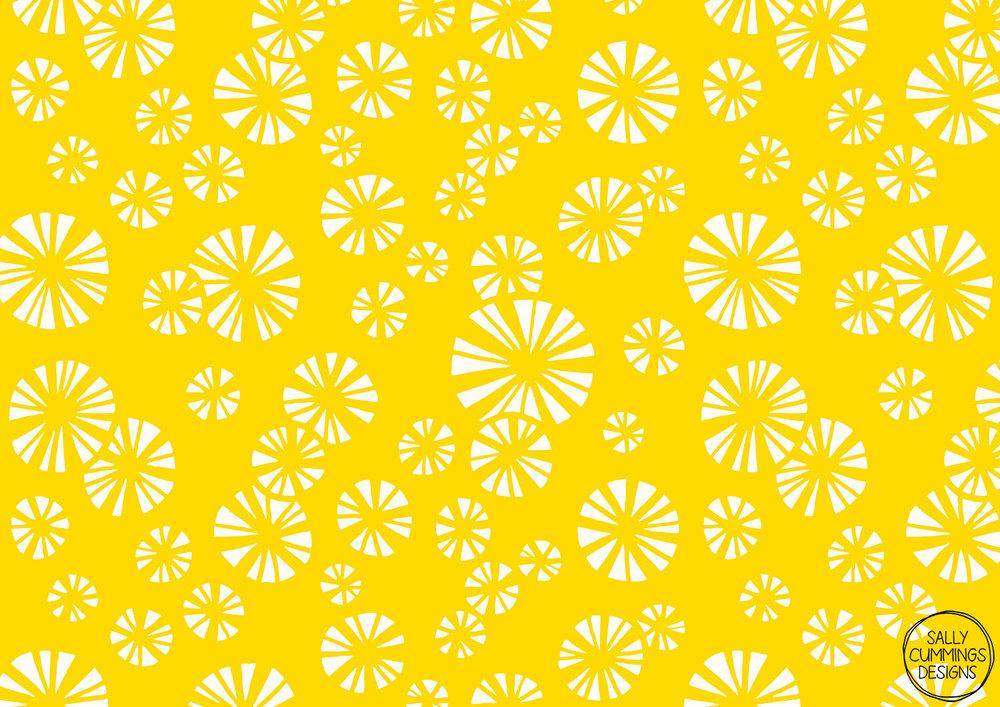 Sally Cummings Designs - Yellow Starbursts Pattern