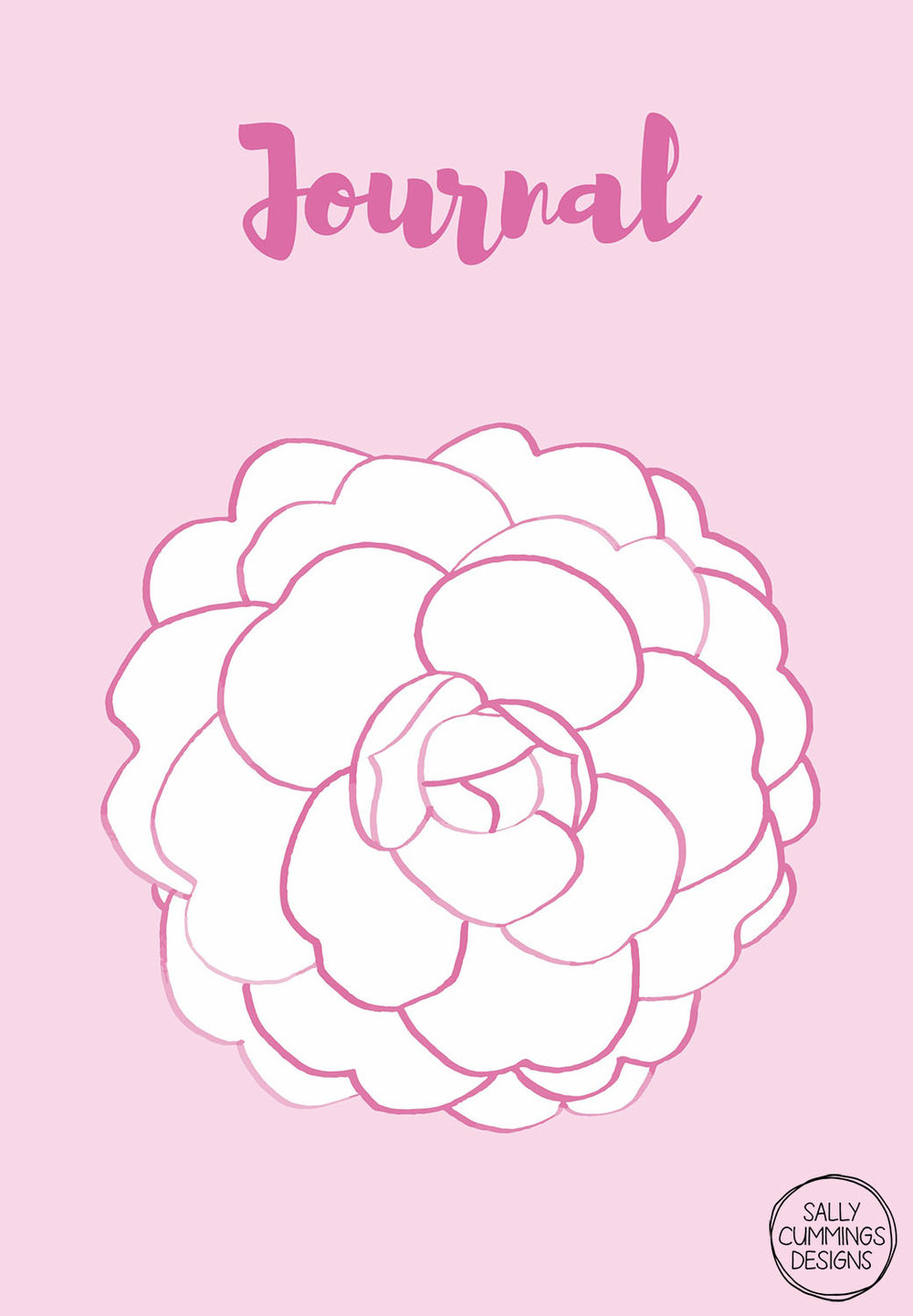 Sally Cummings Designs - Pink camellia journal cover design