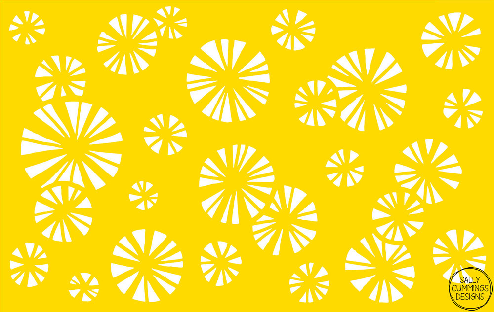 Yellow starbursts vectorised in Illustrator