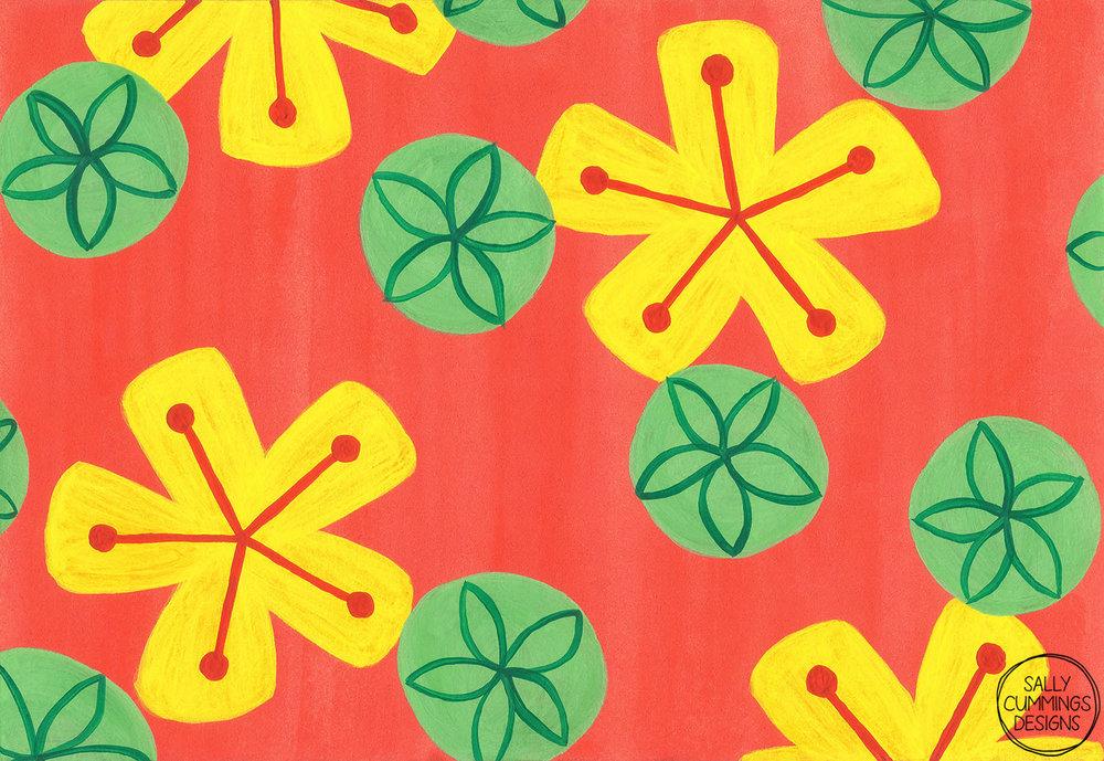 Retro bright floral design