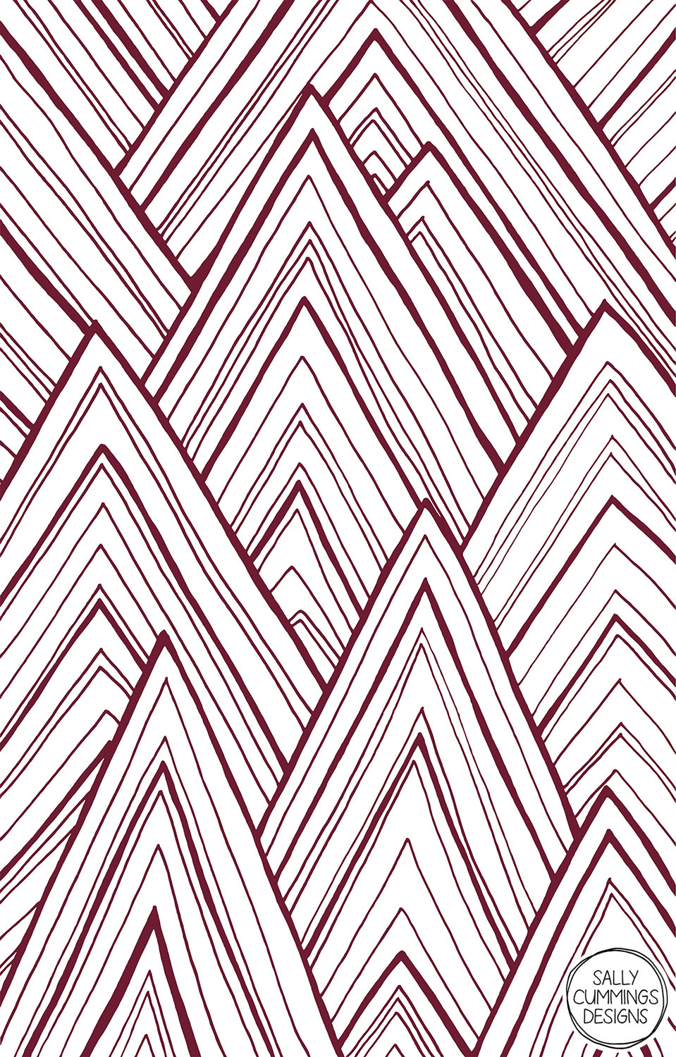 Sally Cummings Designs - Stripe Mountains design (maroon)