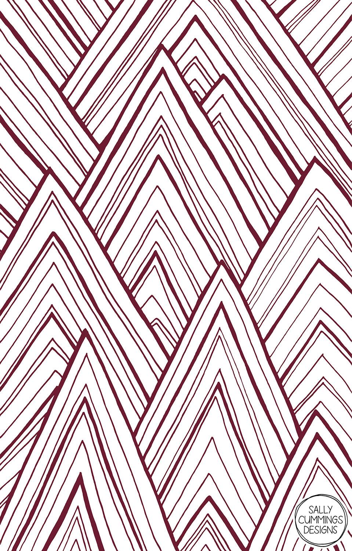 Stripe mountains design - maroon