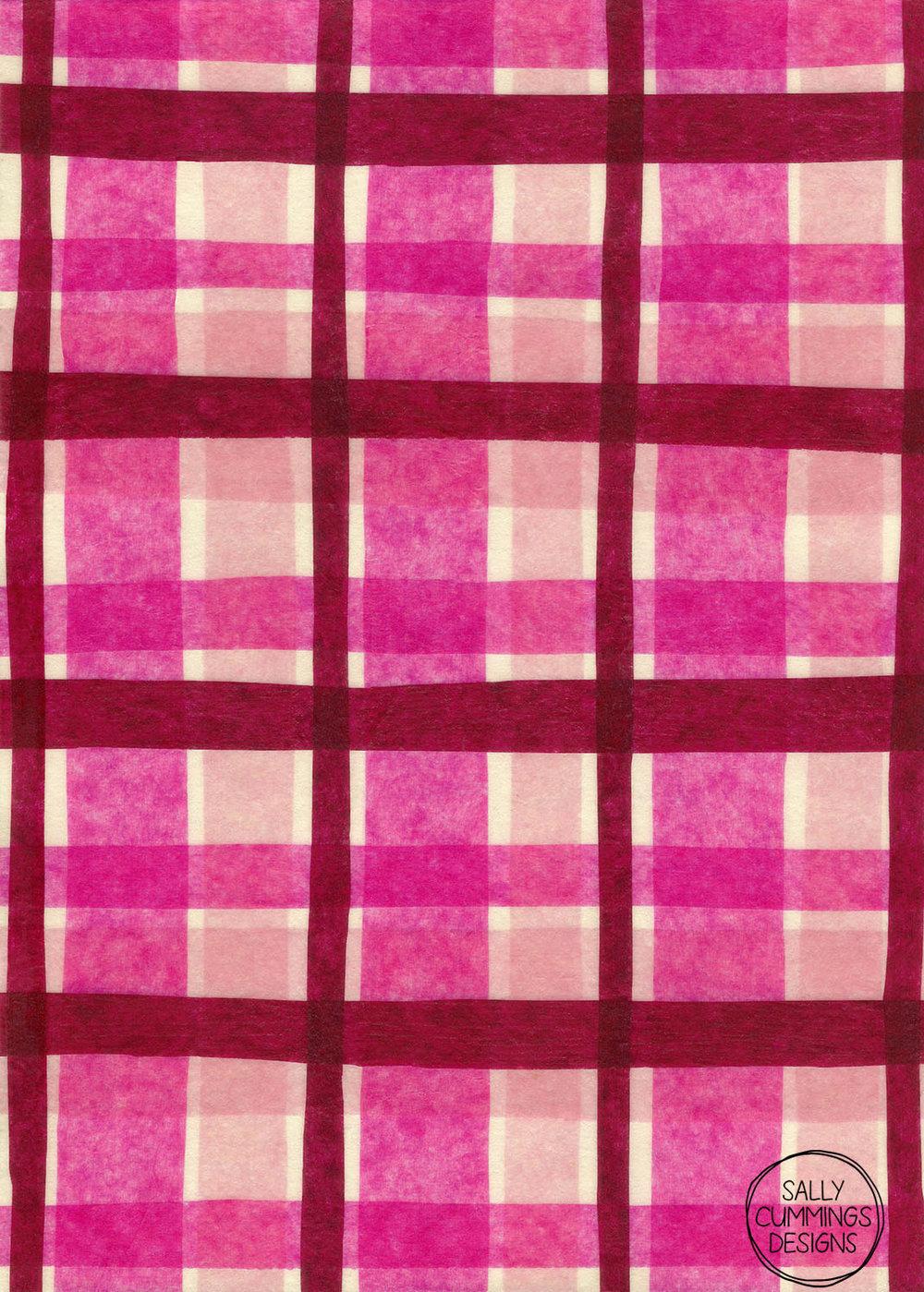 Tissue paper plaid pattern - pink