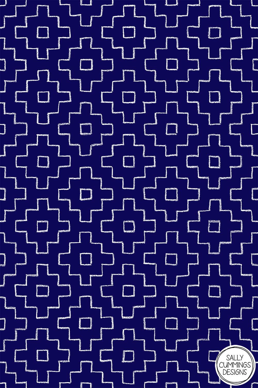 Persimmon Hitomezashi Sashiko Pattern - White on Blue