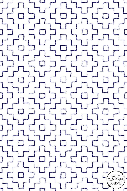 Sally Cummings Designs - Persimmon Hitomezashi Sashiko Pattern (Blue on White)