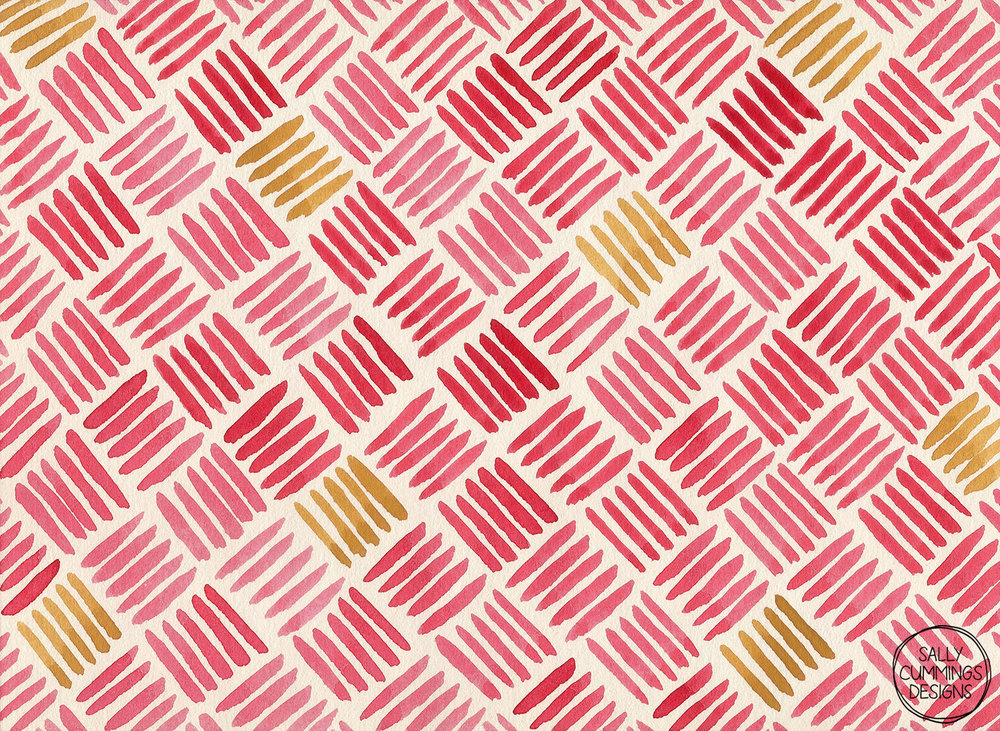 Sally Cummings Designs - Red and Ochre Basketweave Pattern