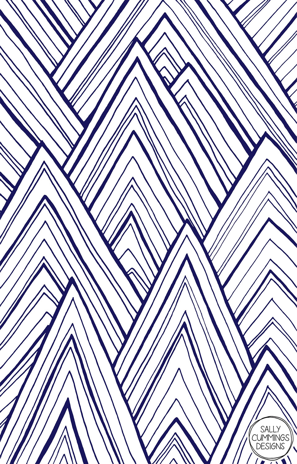 Sally Cummings Designs - Stripe Mountains design (dark blue)