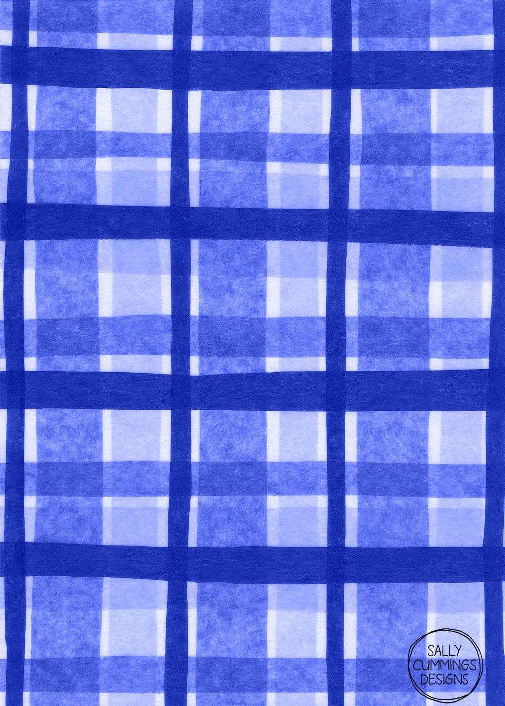 Sally Cummings Designs - Tissue Paper Plaid pattern (blue)