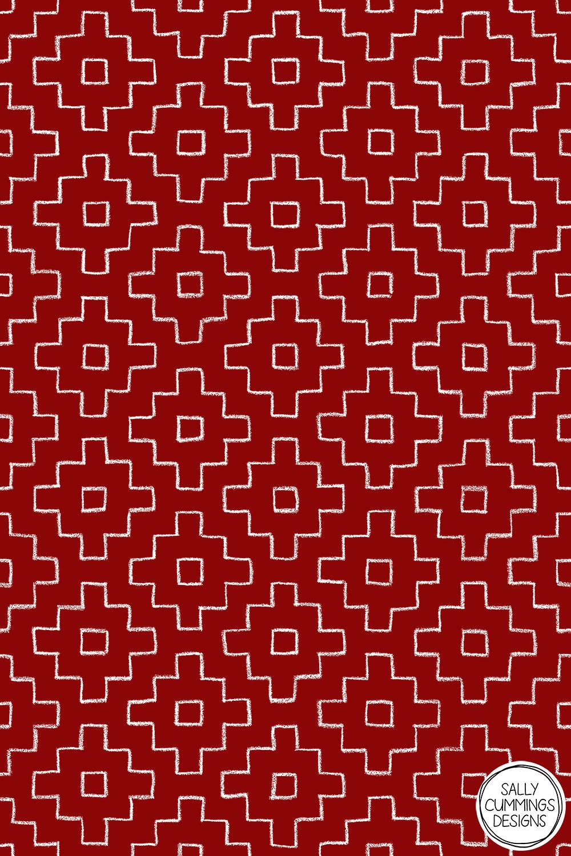 Sally Cummings Designs - Persimmon Hitomezashi Sashiko Pattern (White on Red)