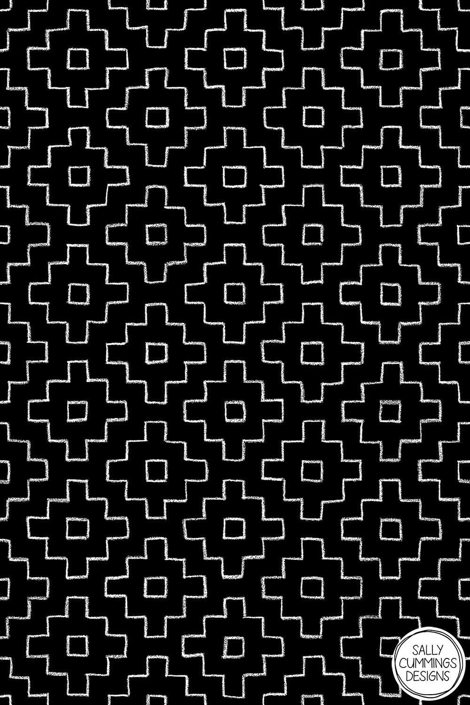 Sally Cummings Designs - Persimmon Hitomezashi Sashiko Pattern (White on Black)