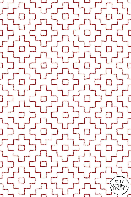 Sally Cummings Designs - Persimmon Hitomezashi Sashiko Pattern (Red on White)
