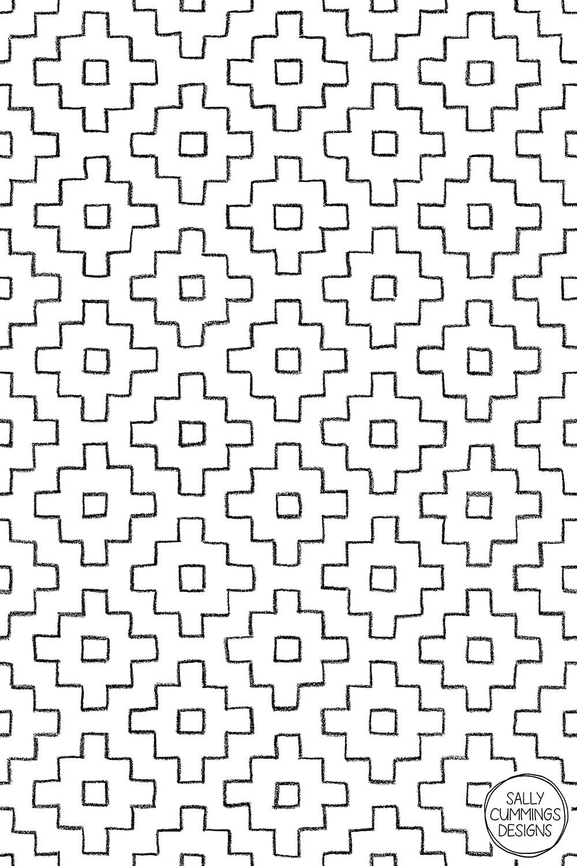 Sally Cummings Designs - Persimmon Hitomezashi Sashiko Pattern (Black on White)