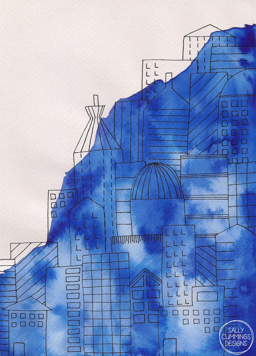 Sally Cummings Designs - Blue Town Triptych (Part 3)