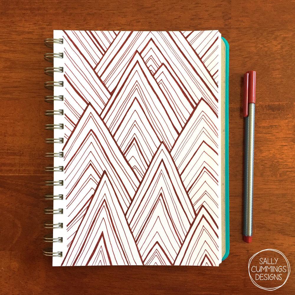 Sally Cummings Designs - Stripe Mountains sketchbook page