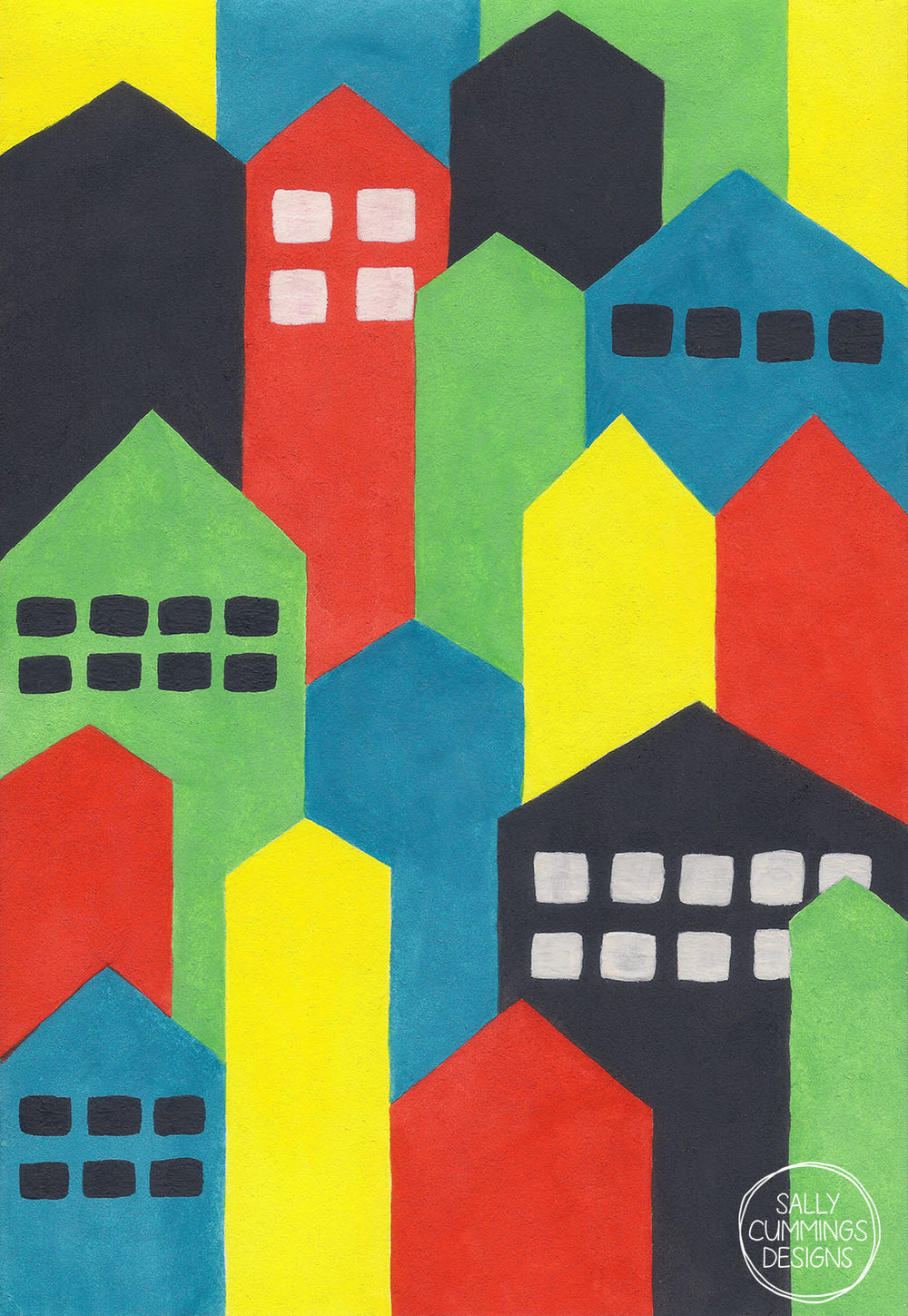 Sally Cummings Designs - Colourful Painted Cityscape