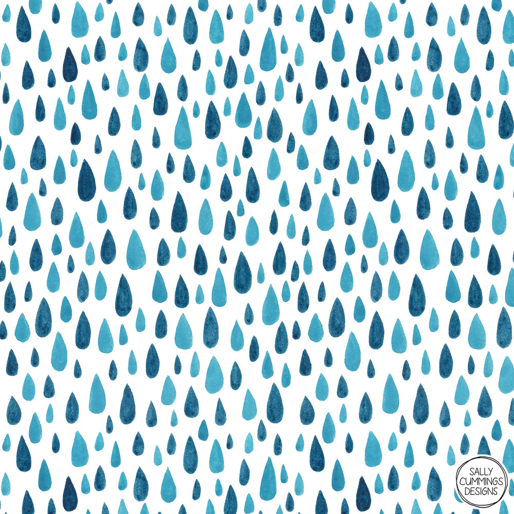 Sally Cummings Designs - Blue raindrops pattern