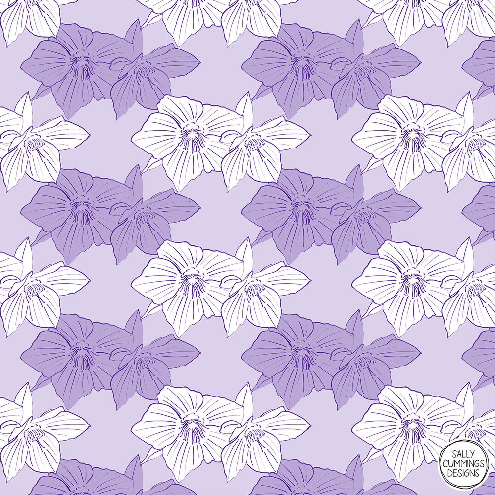 Sally Cummings Designs - Purple hellebore pattern
