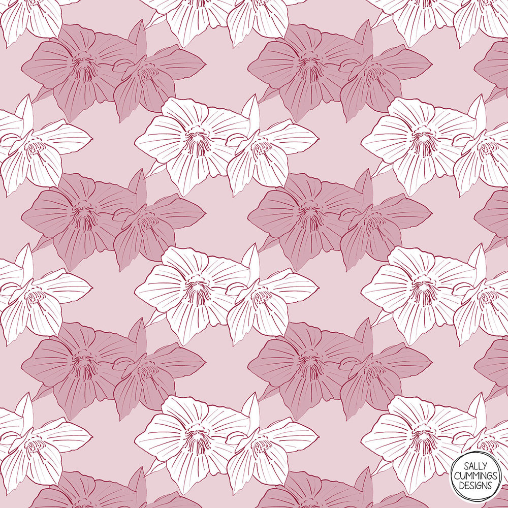 Sally Cummings Designs - Burgundy hellebore pattern