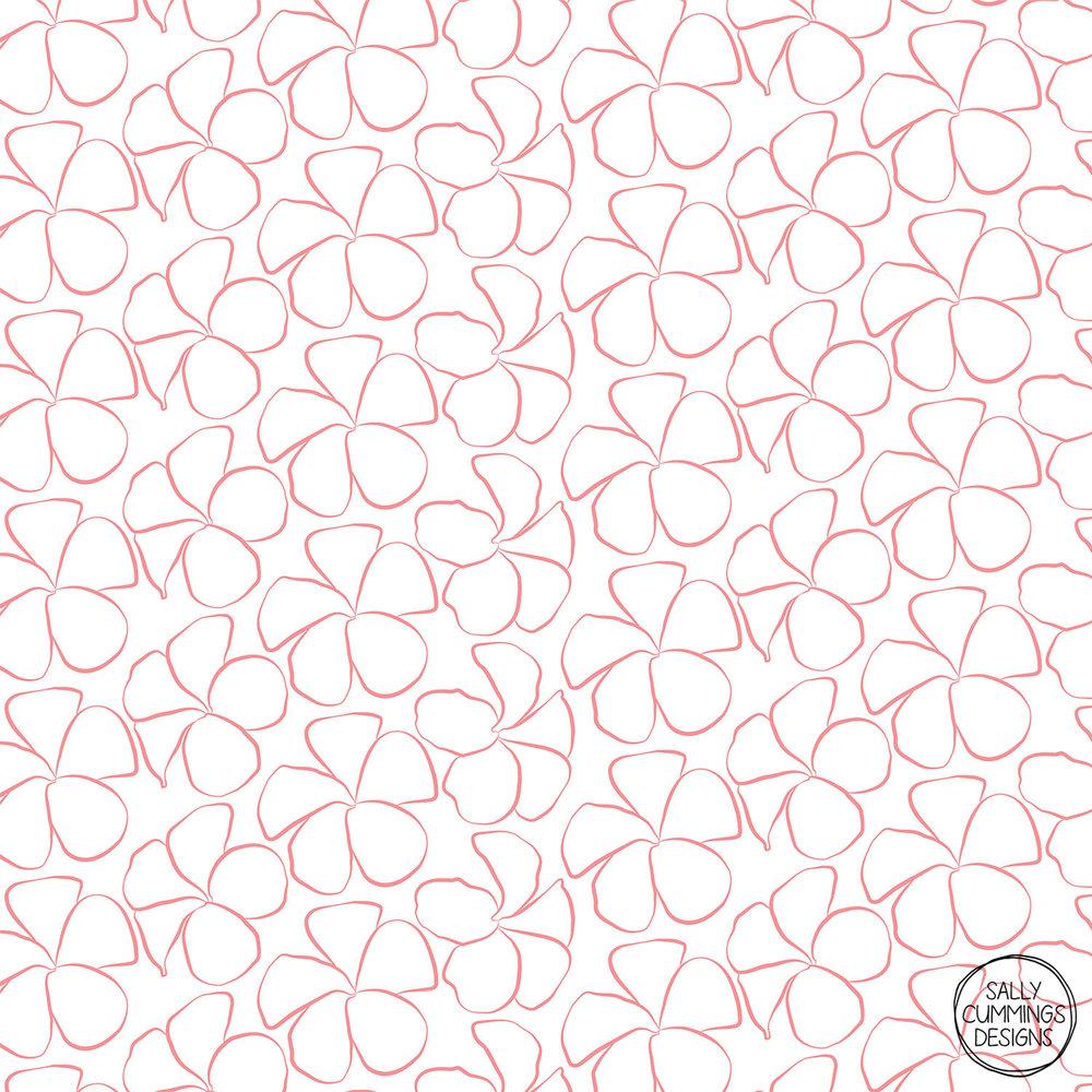 Sally Cummings Designs - Orange Frangipanis Pattern
