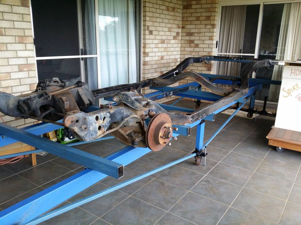 Chassis on operating table before wheelbase extension