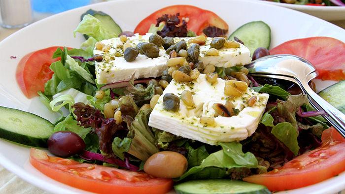 Greek salad with kapari. Photo: www.davidsbeenhere.com
