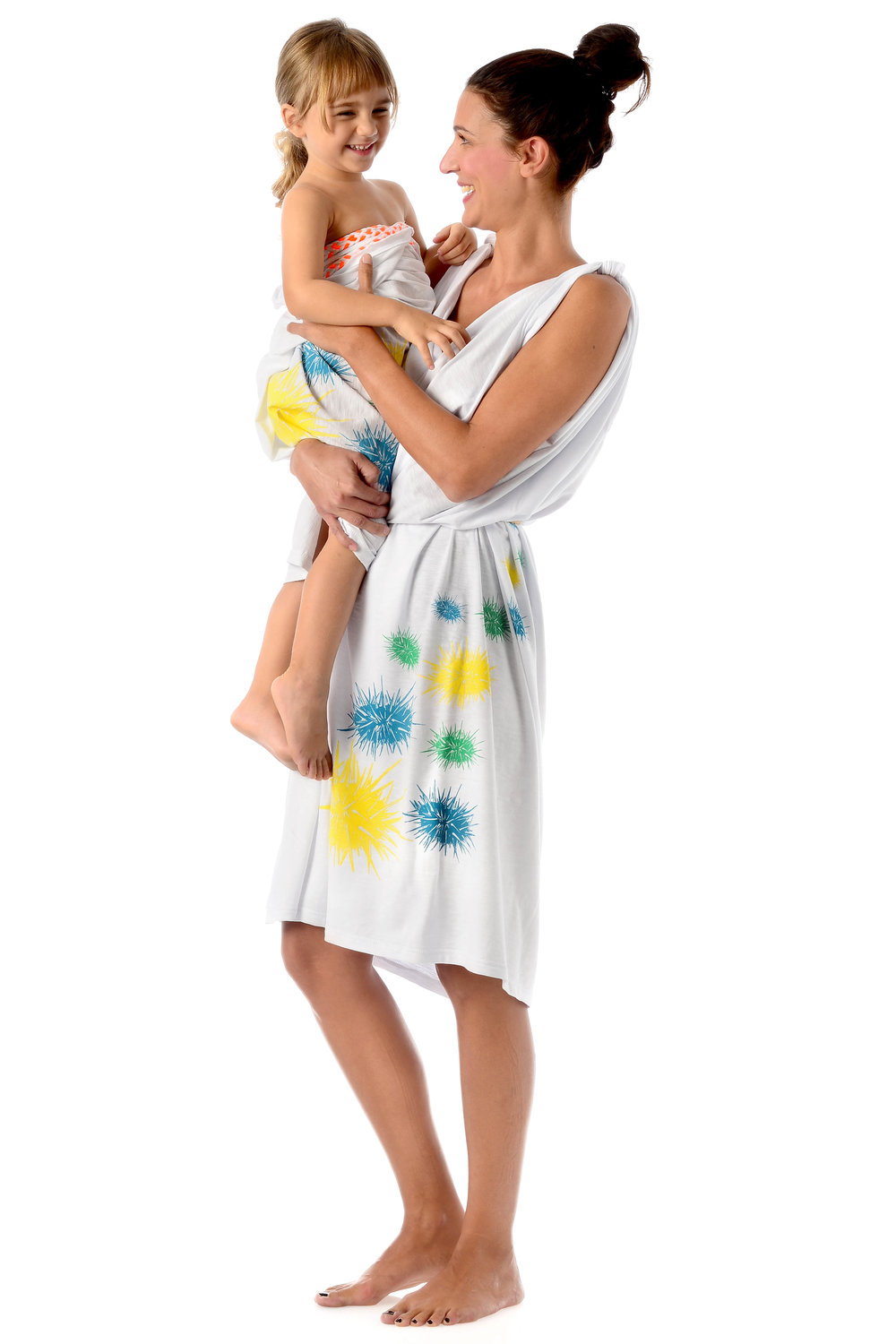 urchins-multi-color-design-on-white-cotton-kids-pareo-strapless-wraped-dress-matching-mother-daughetr-style-side.jpg