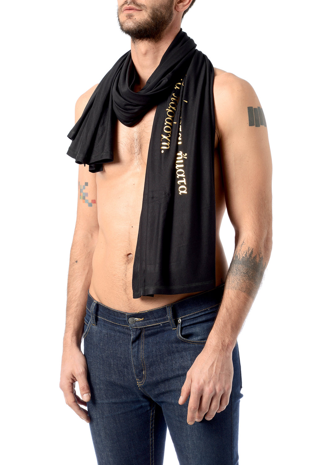 hospitality-phrase-pareo-as-scarf-on-men's-look-golden-foil-on-black-viscose-side.jpg
