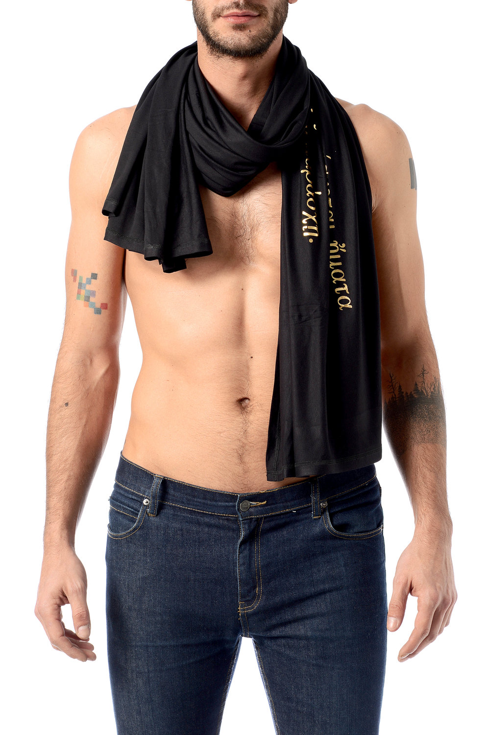 hospitality-phrase-pareo-as-scarf-on-men's-look-golden-foil-on-black-viscose.jpg