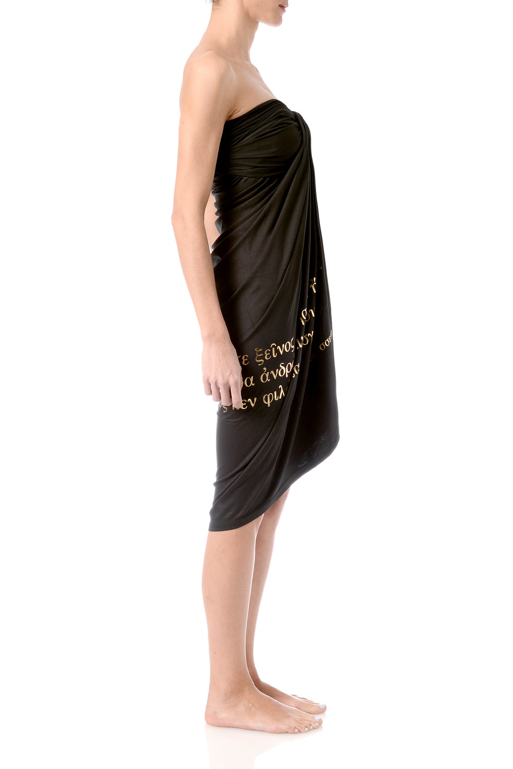 hospitality-phrase-pareo-strapless-dress-wraped-infront-golden-foil-on-black-viscose-side.jpg