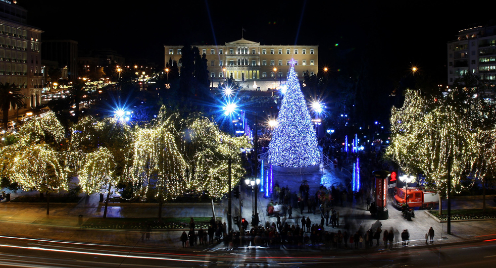 Syndagma Square in Athens, with Christmas Decoration