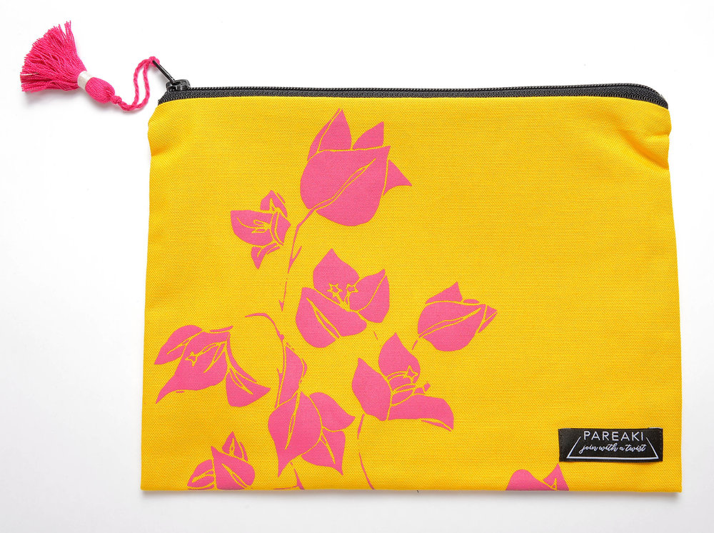 Boukamvillea-fuchia-on-yellow-canva-clutch.jpg