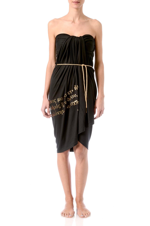 hospitality-phrase-pareo-strapless-dress-wraped-infront-golden-foil-on-black-viscose-with-belt.jpg