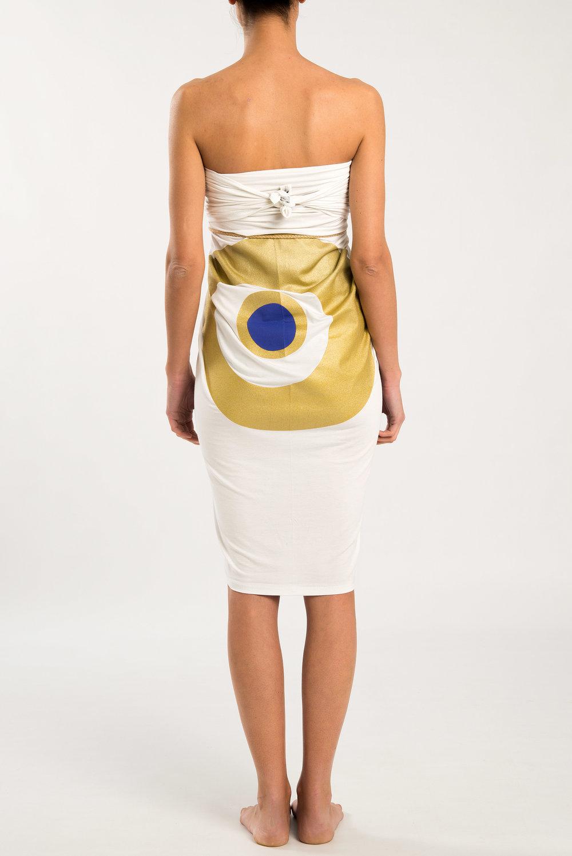 evil eye-pareo-gold-on-white-viscose-strapless-dress-back.jpg
