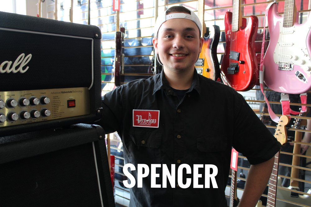 Spencer instructs Guitar, Bass and Ukulele. He has been playing for 12 years and likes Schecter brand guitars.   Favorite Food: Pizza