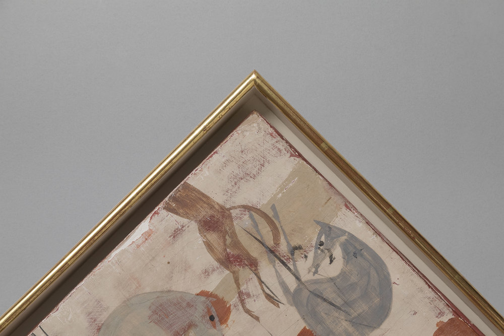 Tray frame with gilt edge. Tempera painting on wooden panel.