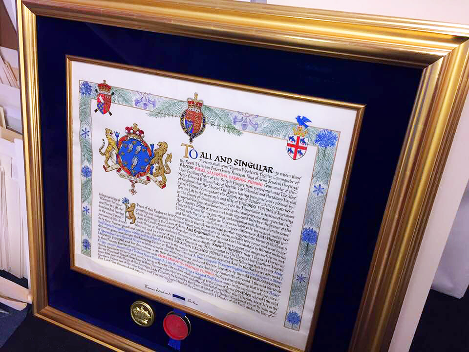 Dark blue velvet. Genuine gold leaf Senelar Avignon frame.