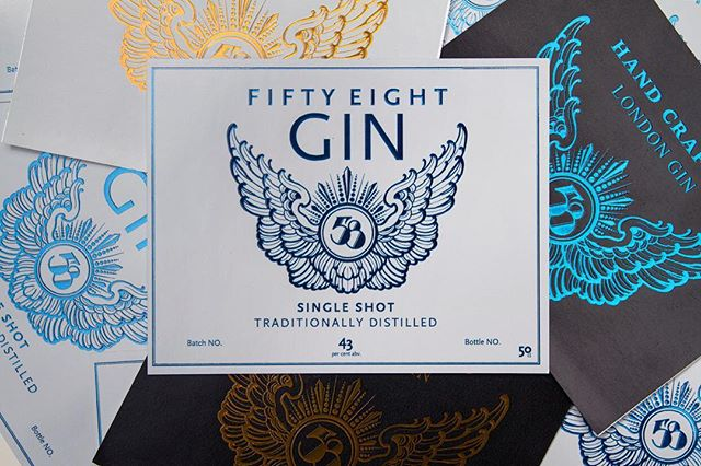 Handcrafted  #gin #58gin #logo #graphic #wings #design #designlondon#drinklabels #london #uk #angel #angellondon