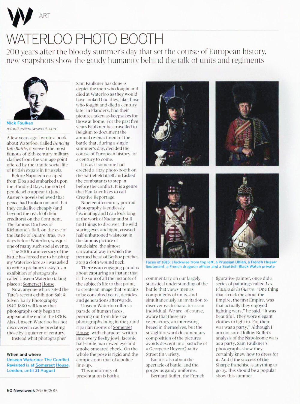 Newsweek  Newsweek article by Nicholas Foulkes about Unseen Waterloo