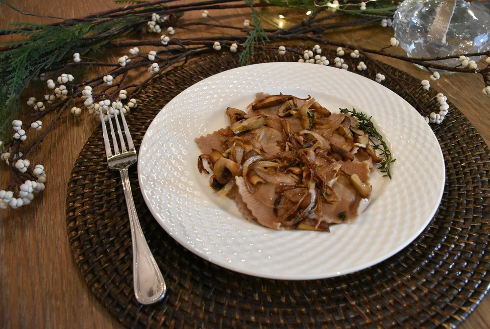 Sautéed Shallots, Wild Mushrooms, & Fresh Thyme - paired with our Braised Chestnut ravioli