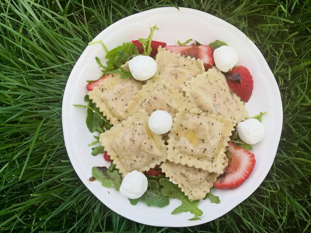 Arugula, Strawberry, & Chevre Salad w/ Balsamic Reduction & Lemon Butter (feat. Strawberry Chevre w/ Lemon, Thyme, & Black Pepper Ravioli)