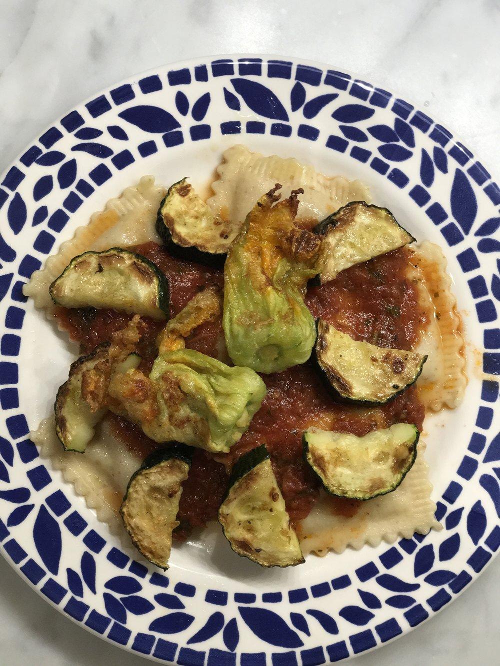 Fried zucchini flowers, zucchini, & our Red Gravy  (feat. Zucchini alla Parmigiana Ravioli)