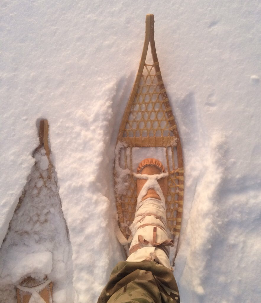 Mukluks and Ojibwa snowshoes together