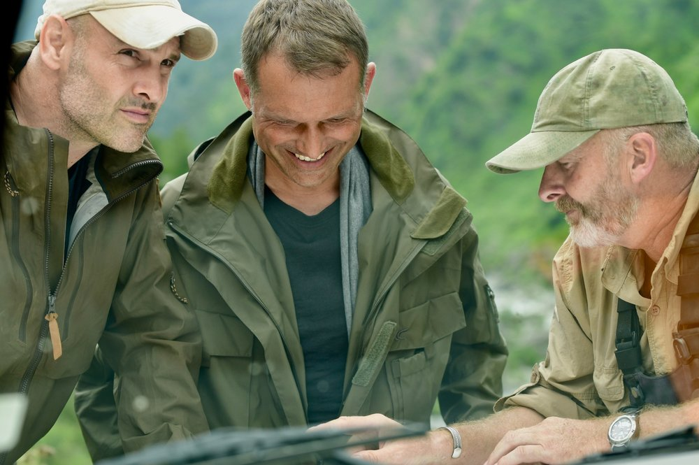 TRG Jacket filming in the Himalayas for Discovery Channel's 'First Man Out'.